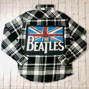 Handmade THE BEATLES Rock Band Tee Vintage Flannel